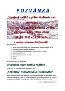 Výroční členská i nečlenská schůze - 18. ledna 2013