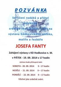 Pozvánka na výstavu hodkovického rodáka, malíře a řezbáře Josefa Fanty