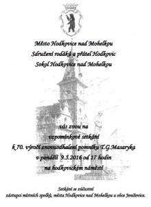 Vzpomínkové setkání - 70. výročí znovuodhalení pomníku TGM