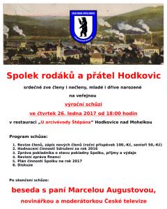 Veřejná výroční schůze Spolku rodáků a přátel Hodkovic 26.1.2017