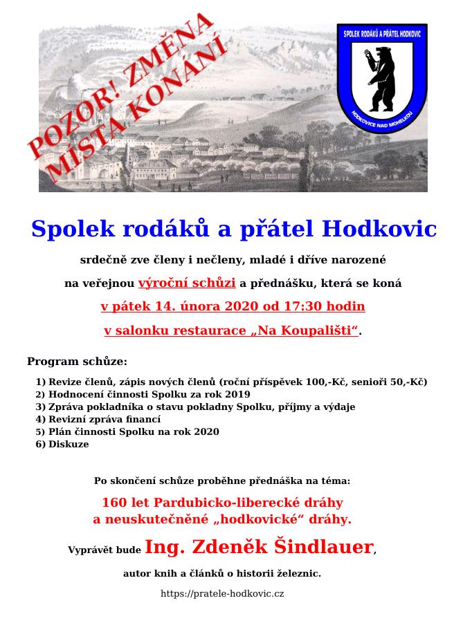 Spolek rodáků a přátel Hodkovic - veřejná výroční členská schůze